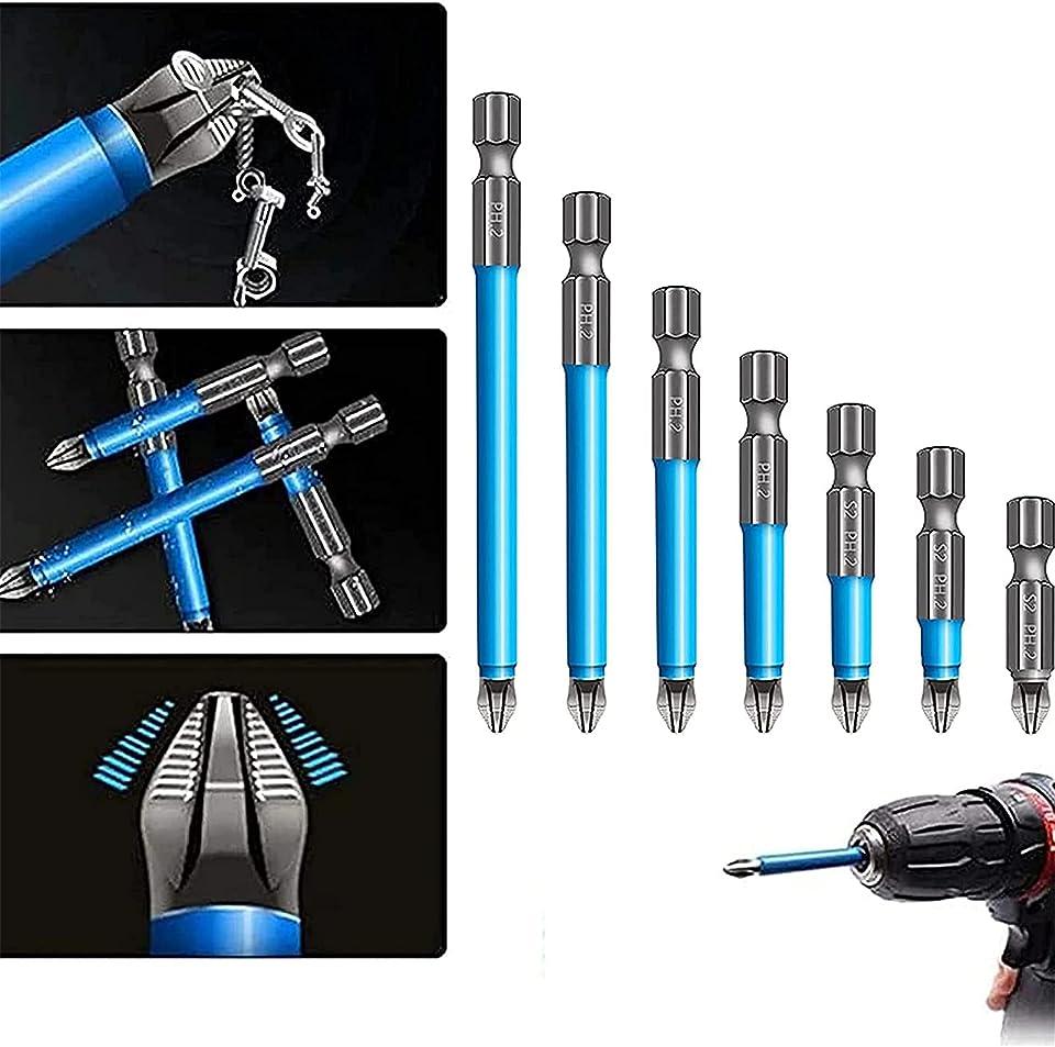 Magnetischer Anti-Rutsch-Bohrer 7-tlg. - PH2 Anti-Rutsch-Magnetbohrer Anti-Rutsch-Kreuz Einzel- und Doppelkopf-Passungen Handelektrische Bohrwerkzeuge für die Holzbearbeitung, Maschinen