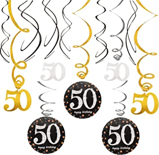 50 Birthday Decoration Swirls Foil Streamers Happy 50th Birthday Cheers to Fifty Years Old Party Decoration Supplies
