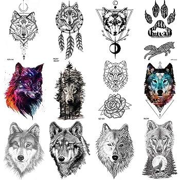 COKTAK 12 Hojas Bosque Lobo Realista Tatuajes Temporales Para Hombres Arte Corporal Mujeres Brazo Pegatinas De Tatuaje Tribales Coyote DiseñO Falso Adultos Tatuaje Impermeable GeoméTrico Negro Pasta: Amazon.es: Belleza