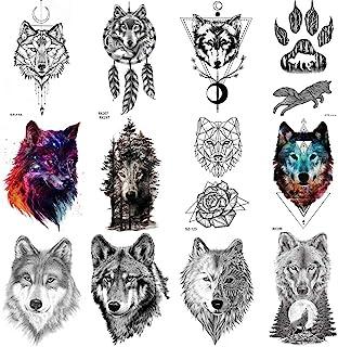 COKTAK 12 Hojas Bosque Lobo Realista Tatuajes Temporales Para Hombres Arte Corporal Mujeres Brazo Pegatinas De Tatuaje Tribales Coyote DiseñO Falso Adultos Tatuaje Impermeable GeoméTrico Negro Pasta