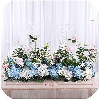 50 / 100cm DIYウェディングフラワーウォールアレンジメント用品シルクシャクヤクローズ人工花行装飾ウェディングアイアンアーチ背景、ホワイトブルーB、50cm