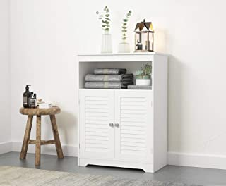 Spirich Bathroom Floor Cabinet with Double Louvered Doors and Adjustable Shelves, Free Standing Bathroom Storage Cabinets,White