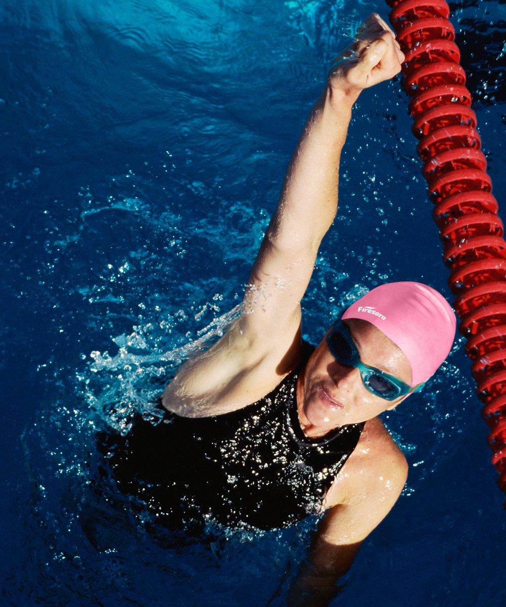 Comfortable Fit Swimming Cap for Short or Medium Hair Premium Silicone Swim Caps Increase Speed for Adults Kids Men Women with Nose Clip and Ear Plugs Firesara Swim Cap