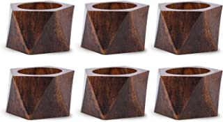 DII Rustic Chic Napkin Rings for Dinner Parties, Weddings Receptions, Family Gatherings, or Everyday Use, Set Your Table With Style - Wood Triangle Band, Set of 6