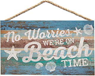 P. Graham Dunn No Worries We're on Beach Time Blue Lath 6 x 3.5 Wood Mini Wall Hanging Plaque Sign