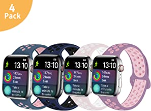 Idon Compatible for Apple Watch Band 38MM 40MM 42MM 44MM, Soft Breathable Silicone Sport Band Replacement Wristband Compatible for iWatch Apple Watch Series 4/3/ 2/1, S/M M/L Size