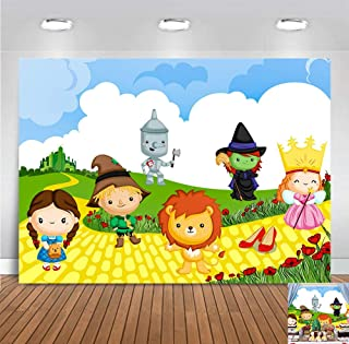 7x5ft Vinyl Wizard of Oz Photo Background Children Birthday Party Banner Decorations Cartoon Cute Lion Scarecrow Photography Backdrop Baby Shower Photo Booths Portraits Supplies