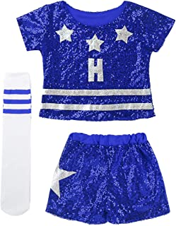 512754977d8bd Alvivi Enfant Fille 3 PCS Costume de Cheerleaders High School Uniforme de  Pom-Pom Girl