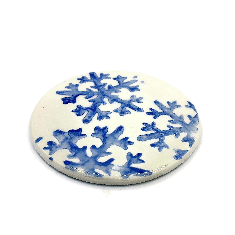 Max 45% OFF Handmade Snowflake Ceramic San Francisco Mall Round Coasters Decor L Christmas for