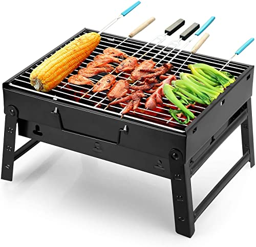 SQUICKLE New Metal Folding Portable Outdoor Charcoal BBQ Grill Charcoal Set for Home and Outdoor Oven Black Carbon Steel Black