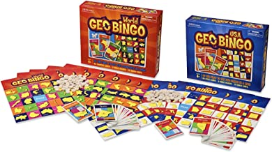 Geotoys — GeoBingo World and GeoBingo USA — 2 Board Game Set for Kids — Geography Bingo Game Learning Resources and Educational Toys, Map Games — Kid Toys for Ages 4 and Up