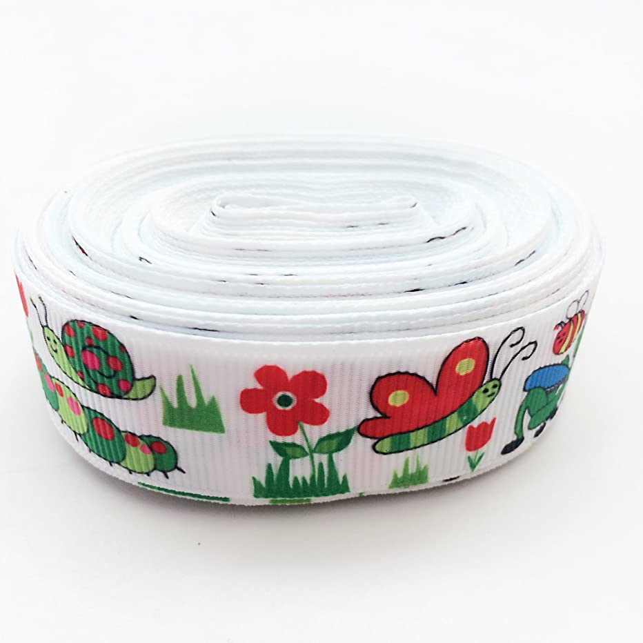 PEPPERLONELY 10 Yards Insects Print Grosgrain Ribbon, 22mm (7/8 Inch)