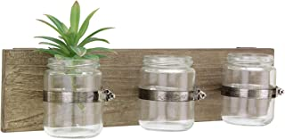 Stonebriar Rustic Natural Wood Hanging Wall Decor with 3 Glass Jar Containers, Unique Multifunctional Decoration for Living Room, Bedroom, Bathroom, Office, Kids Room, or Patio