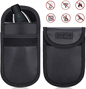 Car Key Signal Blocker Signal Blocking Pouch 2 PCS Fireproof storage bag Anti Theft Guaranteed Full Protective Faraday Security Case WIFI GSM LTE NFC RFID Keyless Entry Fob Signal Privacy Protector