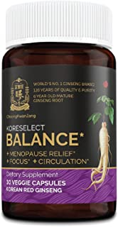 Koreselect Balance Menopause Relief for Women - Genuine KGC Dietary Supplement with 6 Yrs Grown Korean Red Panax Ginseng ,...