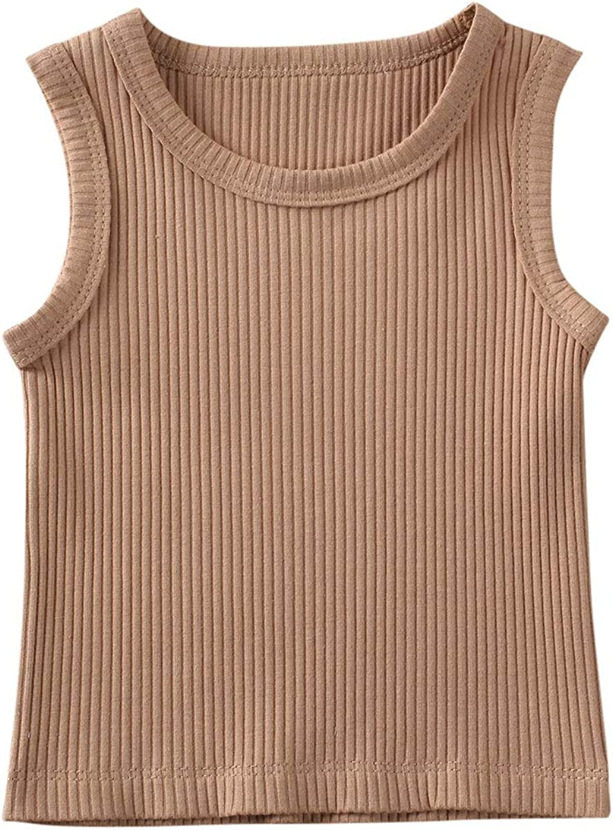 Seyurigaoka 0-3Y Newborn Baby Girl Boys' Tank Top Basic Plain Rib Stitch Sleeveless Vest Shirt for Unisex Infant