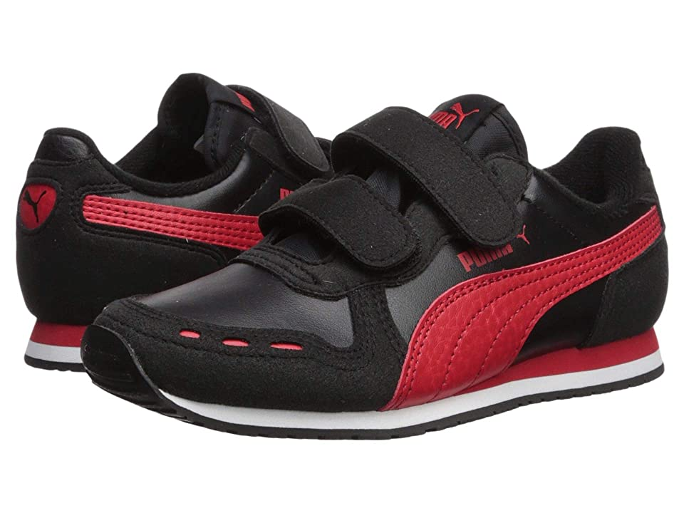 Puma Kids Cabana Racer SL Velcro (Little Kid) (Puma Black/High Risk Red/Puma White) Boys Shoes