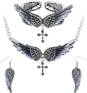 Szxc Jewelry Women's Angel Wing Cross Pendant Necklace Bangle Bracelet Earrings Biker Jewelry Sets