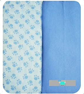 Changing Pad Cover Set by LANCON Kids - 2 Pack Cradle Sheet Set 100% Jersey Knit Cotton (Blue & Paw Print)