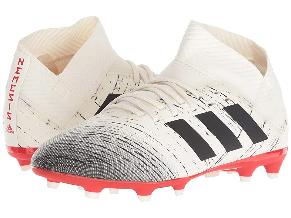 adidas Kids Nemeziz 18.3 FG Soccer (Little Kid/Big Kid) (Off-White/Black/Active Red) Kids Shoes
