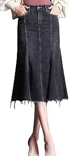 Women's Black Mermaid Frayed Hem Washed Midi Denim Long Skirt
