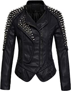 Women's Punk Stylish Oblique Zip Slimming Studded Faux Leather Moto Jacket