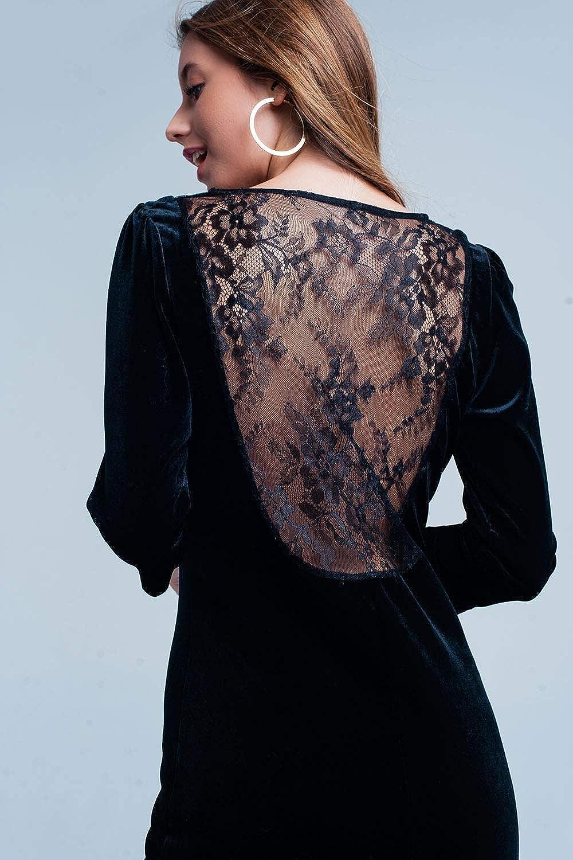 Q2 Minivestido Negro de Terciopelo con Parte Posterior Abierta Vestido para Mujer