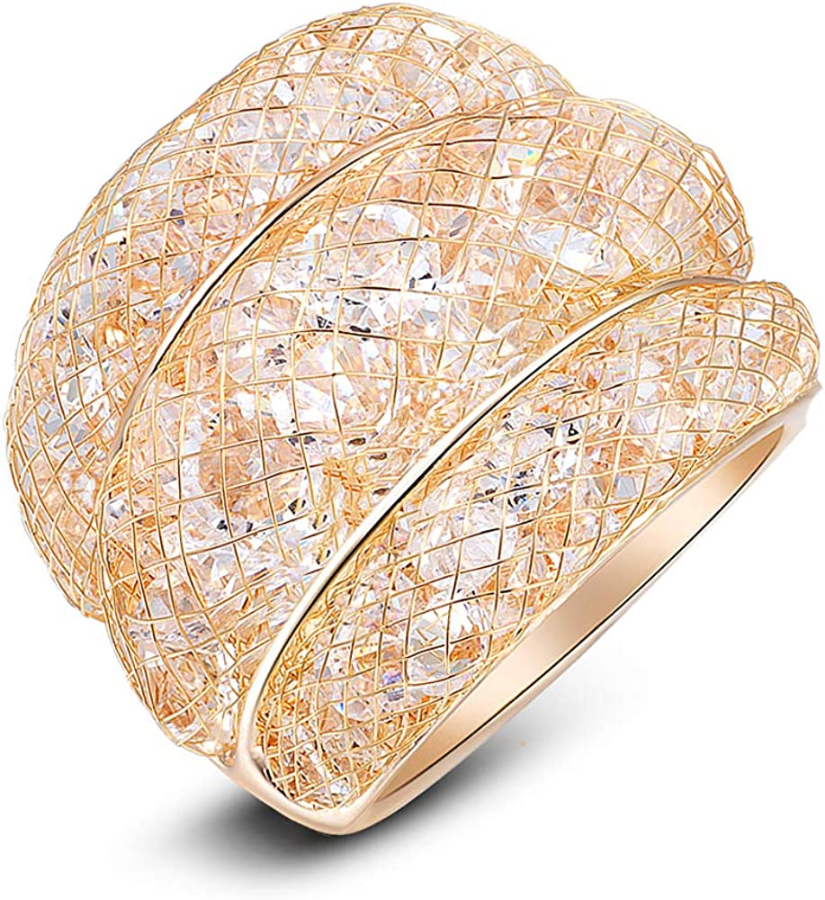 Mytys Cubic Zirconia Statement Rings Fashion Rose Gold Mesh Crystal CZ Chunky Ring for Women