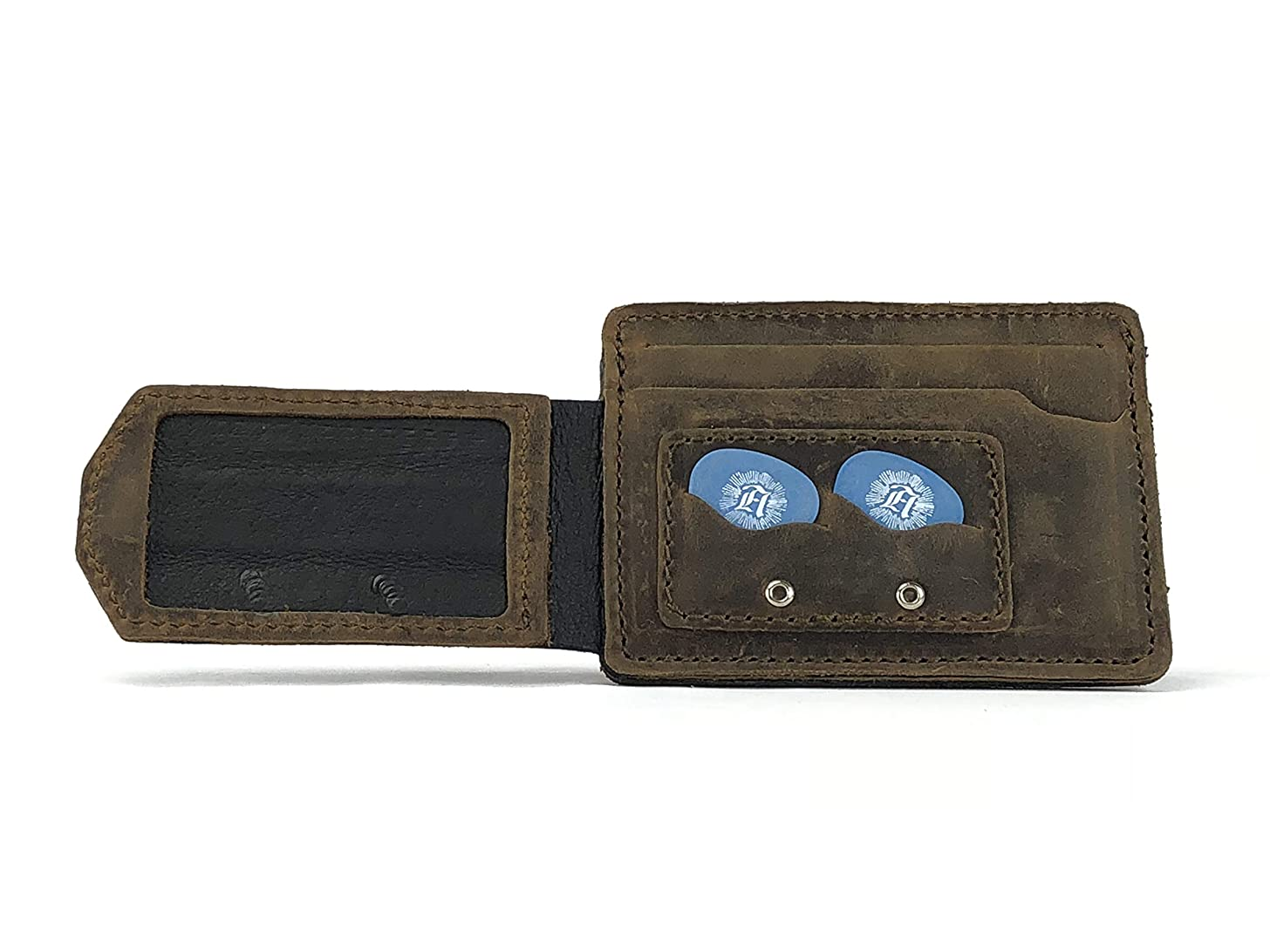 Anthology Gear Compact Full Grain Leather Wallet with Guitar Pick Holder (Whiskey Brown)