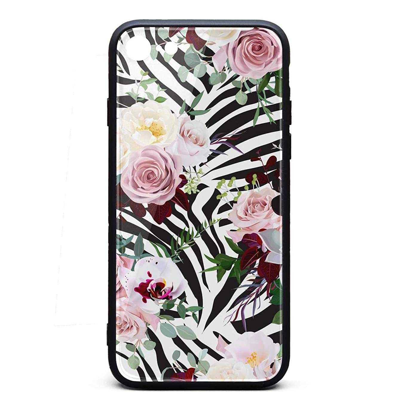 Phone Case for iPhone 6Plus/iPhone 6sPlus Hippie Boho Zebra Striped Animal and Floral Tempered Glass Black Anti-Scratch TPU Rubber Bumper Shock Cover for Womens Back Cover