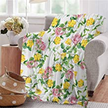 Luoiaax Yellow Flower Children's Blanket Flourishing Bindweed and Pink Roses Leaves Botanical Nature Lightweight Soft Warm and Comfortable W60 x L70 Inch Jade Green Yellow Baby Pink
