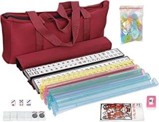 American Mah Jongg Mahjong 166 Tile Set with 4 All-in-One Rack/Pushers,Soft Bag (Stylish..