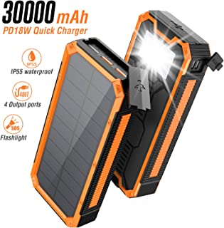 $48 » Solar Charger 30000mAh, Solar Power Bank, PD 18W Quick Charge with 4 Outputs & Dual Inputs, External Backup Battery Huge C...