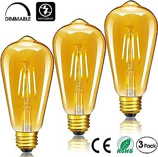 Elfeland 6W Edison Ampoule LED Antique Filament Ambre Verre 2200K 600LM Dimmable Lumi/ère Blanc Chaud Parfait pour Nostalgie et L/éclairage R/étro Mod/èle ST64-3 Packs Ampoule E27 Vintage