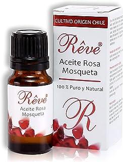 REVE Aceite Rosa Mosqueta Puro - 10 ml - Orgánico - Prensado en Frío - 100% Natural - Origen Chile - Envasado en UE - Cosmética natural sin parabenes.
