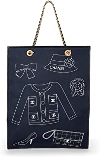 CHANEL Navy Canvas Icon Print Tote (Pre-Owned)