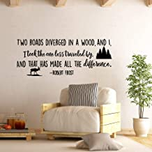 Two Roads Diverged in A Wood Robert Frost Inspirational Wall Decal Quote, Wanderlust Wall Decal Road Less Traveled Vinyl Sayings Decals LO11