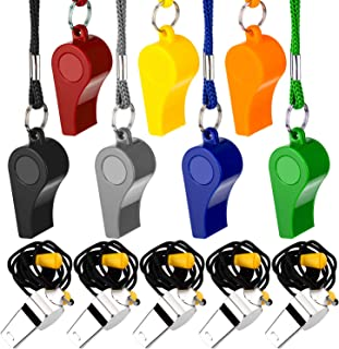SAVITA Whistle, 12 PCS Plastic Whistles Stainless Steel Whistle with a Lanyard for Sport, Loud Crisp Sound Whistle for Referees, Coaches, Lifeguard, Colorful Teacher Whistle for School