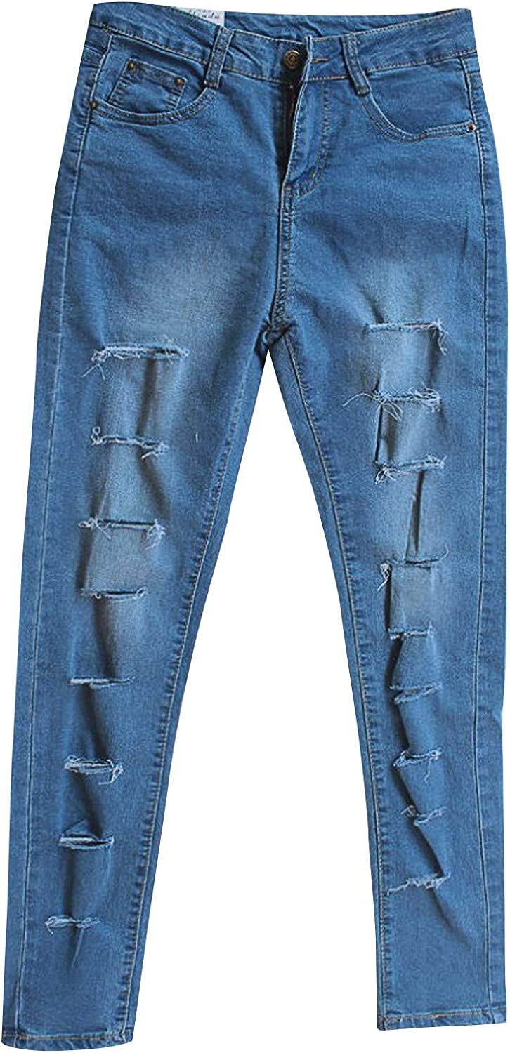 Euone_Clothes Pants for Women Casual, Women Solid Color Blue Hole High Jeans Flares Ankle Fashion Pants Trouser