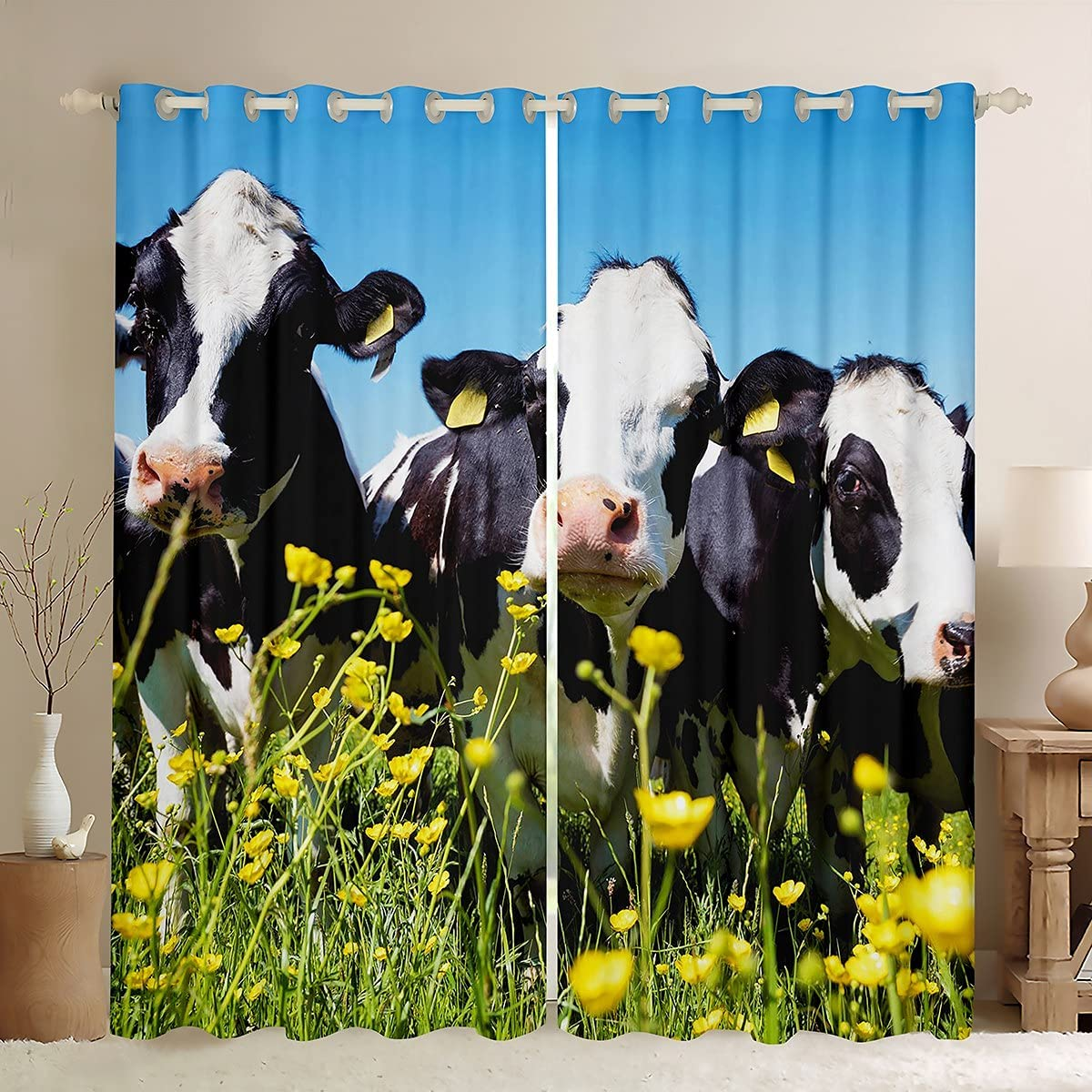 3D Cow Print unisex Window Curtain Cute Natural F Plant Cattle Curtains Great interest