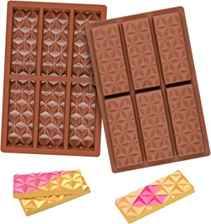 2 Pcs Break Apart Chocolate Molds Silicone Shapes, Candy Bar Silicone Molds for Baking, Wax Melt Molds Silicone Small ( Py...