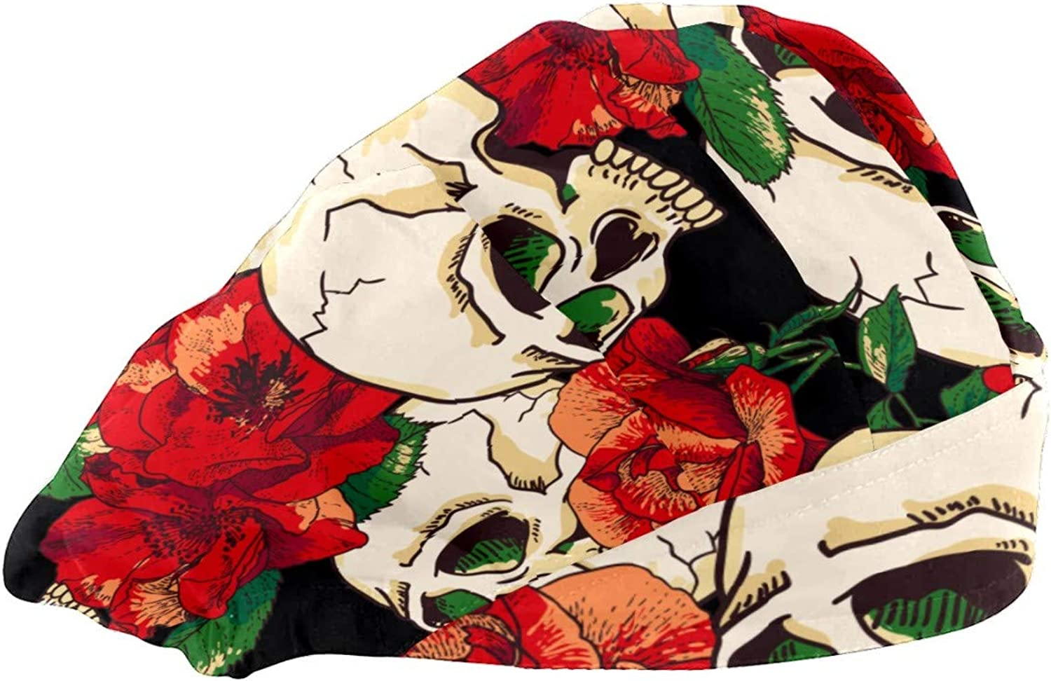 Veronica Nelson Adjustable Working Cap with Elastic Bouffant Hats with Print Halloween Skeleton Rose for Women Men, One Size