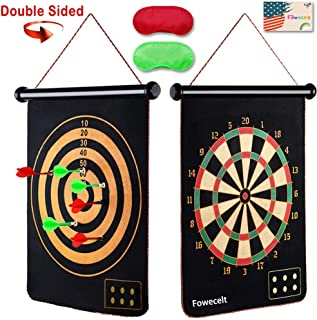 Fowecelt Safety Magnetic Dart Board for Kids Teens, Indoor Outdoor Double Sided Dartboard Bullseye Games for Boys Teens Adults Family Carnival Birthday Party Games Leisure Sports