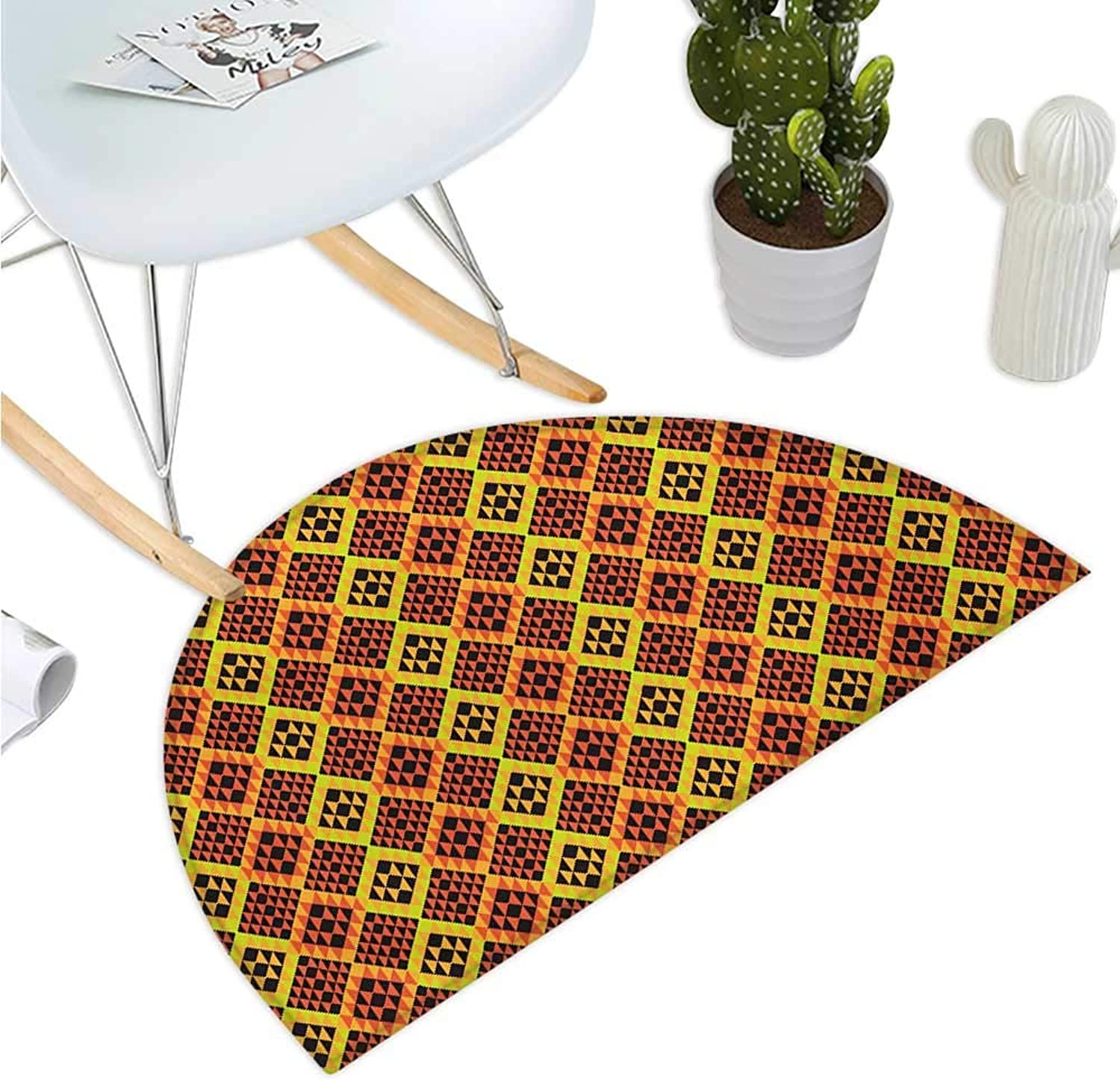 Ethnic Half Round Door mats Warm colord Rhombus Pattern Design from Mexican Peruvian Cultures Entry Door Mat H 43.3  xD 64.9  Vermilion Yellow and Black