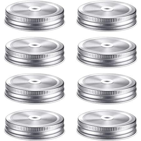 8 Pieces Stainless Steel Regular Mouth Mason Canning Jar Lids with Straw Hole Leak Proof Reusable Mason Silver Jar, Silver, 2.7 Inch