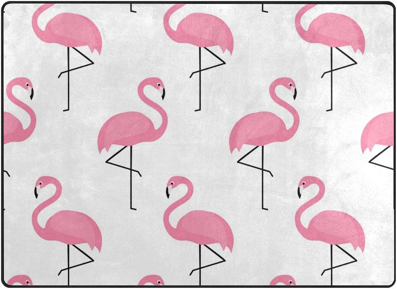 SUABO 80 x 58 inches Area Rug Non-Slip Floor Mat Flamingo Pattern Printed Doormats for Living Room Bedroom