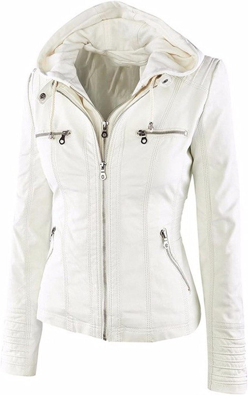 Dapengzhu New Hooded Fauxher Jacket Women Autumn Winter Tops Motorcycle Jackets Hat Detachable Slim Coat Outwear Plus Size