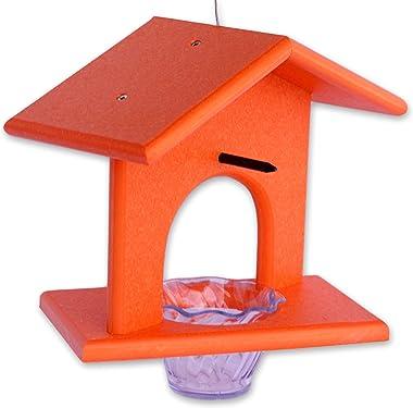 Amish-Made Oriole Bird Feeder, Eco-Friendly Poly-Wood Hanging Decorative Oriole Jelly Feeder (Orange)
