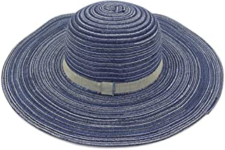 Foldable Beach Straw Hat Women Summer Seaside Big Sun Hat Sunscreen Sunshade Travel Wild Big Edge Cool Hat` TuanTuan (Color : Blue, Size : 56-58CM)