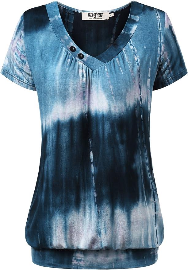 DJT Damen Basic V-Ausschnitt Langarmshirt Falten Casual mit Knopf T-Shirt